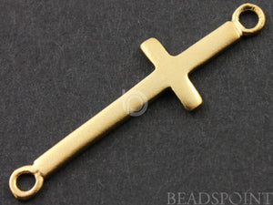 24K Gold Vermeil Over Sterling Silver 2 Rings Cross Charm  -- VM/CH1/CR36