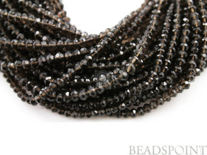 Smokey Topaz Small Micro Faceted Roundels, (STZmicFRNDL) - Beadspoint