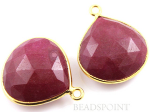Dyed Red Ruby Faceted Heart Shape Bezel, (BZC6097) - Beadspoint