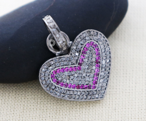 Pave Diamond & Ruby Heart Charm, (DC-7074) - Beadspoint