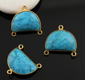 Turquoise Faceted Half Moon Shape Bezel Connector, (BZC9041/TURQ/CNT) - Beadspoint