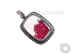 Pave Diamond Ruby Rectangle Shaker Pendant -- DP-0895 - Beadspoint