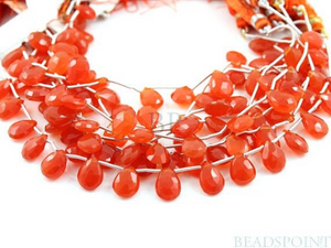 Carnelian Faceted Pear Drops,(CAR9x12FPear) - Beadspoint