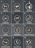 Sterling Silver vintage Inspired Zodiac Signs, w/ Star emblem, Circa-1880  re-production, 4 Finishes, 12 Signs (AF-145)