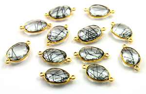 Black Rutile Faceted Oval Connector, (BZC/6069/CNT) - Beadspoint