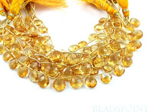 Warm Honey Yellow Citrine Faceted Flat Heart Briolettes, (CIT10HRT ) - Beadspoint