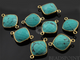 Green Turquoise Faceted Cushion Connector, (BZC7511) - Beadspoint