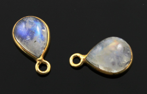 1 Pair,Rainbow Moonstone Smooth Pear Bezel, (RNB010) - Beadspoint
