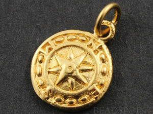 24K Gold Vermeil Over Sterling Silver Nautical Charm  -- VM/CH10/CR28