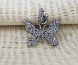 Pave Diamond  Butterfly Charm, (DCH-140) - Beadspoint
