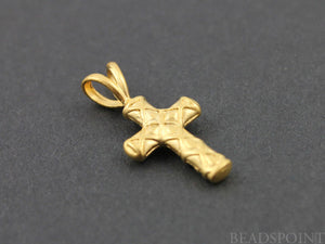 24K Gold Vermeil Over Sterling Silver Cross Charm  -- VM/CH1/CR16