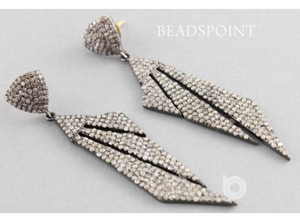 Pave Diamond Art Deco Earrings, (DER-141) - Beadspoint