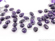 Dark Purple Amethyst Faceted Flat Pear Drops, ( 2AM9x13-10x16PEAR) - Beadspoint