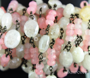 Moonstone & Pink Chalcedony Faceted Wire wrapped Rosary, (RS-MIX-16) - Beadspoint