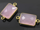 Rose Quartz Faceted Chicklet Connector, (BZC7456) - Beadspoint