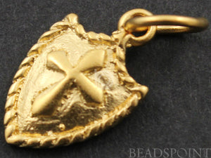 24K Gold Vermeil Over Sterling Silver Cross Charm  -- VM/CH1/CR35 - Beadspoint