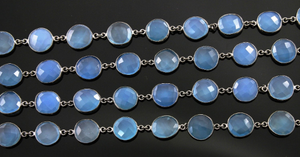 Blue Chalcedony Faceted Oval Chain, (BC-BCL-05) - Beadspoint
