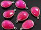 Fuschia Hot Pink Faceted Baby Pear Bezel, (SSBZC7392-C) - Beadspoint