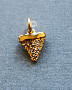 Gold Vermeil Over Sterling Silver Shark Tooth Charms With Diamonds   -- VM/CH4/CR141 - Beadspoint