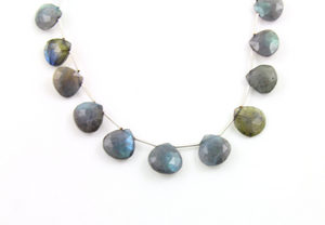 Blue Flashes Labradorite Faceted Heart Briolettes Beads, (LAB15x15HRT)