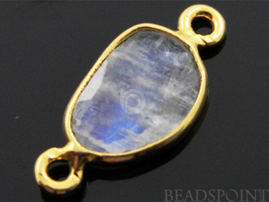 Rainbow Moonstone Faceted Bezel Connector, (RNBC9x12) - Beadspoint