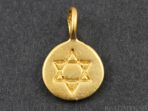 24K Gold Vermeil Over Sterling Silver Star Charm -- VM/CH2/CR12 - Beadspoint
