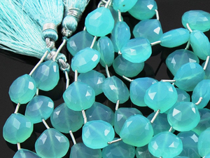 Aqua Blue Chalcedony Medium Faceted Heart Drops, (4AQCL/12SD), - Beadspoint
