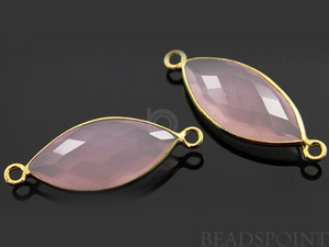 Rose Quartz Faceted Marquise Shape Bezel Connector, (BZC3017)