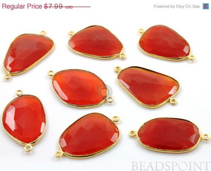 Carnelian Bezel Fancy Shape Connector, (BZC7364-LG) - Beadspoint