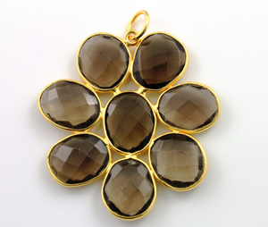 Smokey Topaz Faceted Fancy Flower Pendant, (BZC7530) - Beadspoint