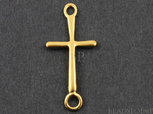 24K Gold Vermeil Over Sterling Silver Cross Charm  -- VM/CH1/CR24 - Beadspoint