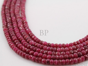 Ruby Faceted Rondelles , 25 Pieces, (RBY4FRNDL) - Beadspoint