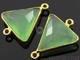 Green Chalcedony Faceted Triangle Bezel Connector, (BZC7584)