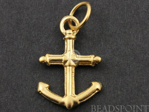 24K Gold Vermeil Over Sterling Silver Anchor Charm -- VM/CH10/CR21 - Beadspoint