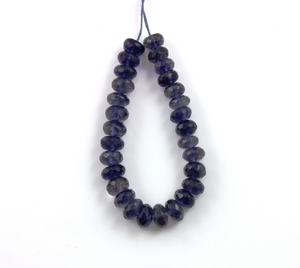 Iolite Faceted Rondelle Beads, 6 Inch long (IOL/FRNDL/5-7MM) - Beadspoint