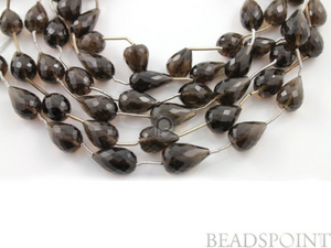 Brazilian Smokey Topaz  Faceted Long Drilled Tear Drops, (STZ7x10Tearld) - Beadspoint