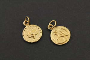 24K Gold Vermeil Over Sterling Silver Double Side OHM-Lotus Charm -- VM/CH2/CR50 - Beadspoint