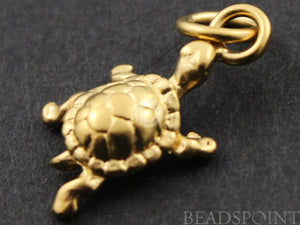 24K Gold Vermeil Over Sterling Silver Lucky Turtle Charm -- VM/CH7/CR28
