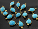 Turquoise Faceted Pear Bezel Connector, (BZC7119) - Beadspoint