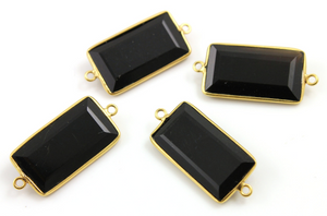 Black Onyx  Faceted Rectangle Connector,(BNX/CNT/101) - Beadspoint