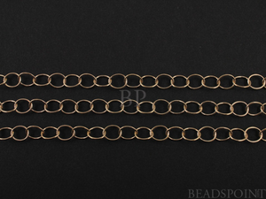 14k Gold Filled Flat Cable Chain, Heavy Weight Small Oval Links, 3 x 2.25 mm,GF-2214 (GF-165)