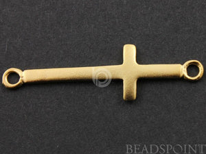 24K Gold Vermeil Over Sterling Silver 2 Rings Cross Charm  -- VM/CH1/CR36 - Beadspoint