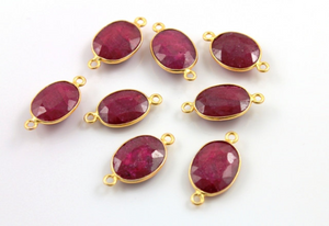 Ruby Faceted Oval Connector, (BZC7348-C) - Beadspoint