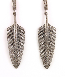 Pave Diamond Dangling Earrings, (Earr-015) - Beadspoint
