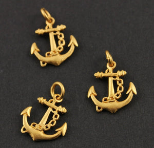 24K Gold Vermeil Over Sterling Silver Anchor Charm  -- VM/CH10/CR42 - Beadspoint