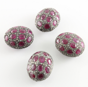 Pave Diamond and Ruby Bead, (DF/BD216/RB) - Beadspoint