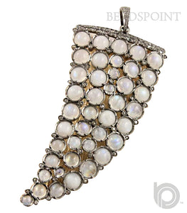 Pave Diamond Rainbow Moonstone Shark tooth Pendant --DP-1070 - Beadspoint