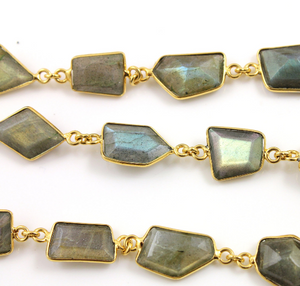 Labradorite Fancy cut Bezel Chain, (BC-LAB-35) - Beadspoint