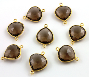 Smokey Quartz Faceted Heart Shape Bezel Connector, (BZC9015/ST) - Beadspoint