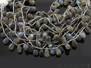 Natural '' NO TREATMENT'' Grey Labradorite Small Faceted Tear Drops, AAA Quality Gems 5x8mm, 1 Strand (LAB5x8TEAR) - Beadspoint